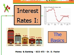 Interest Rates I: Money & Banking - ECO 473 - Dr. D. Foster