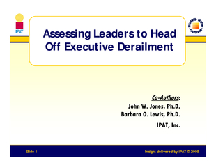 Insight delivered by IPAT   Slide  Assessing Leaders t