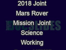 Report of the 2018 Joint Mars Rover Mission  Joint Science Working Group (JSWG
