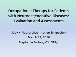 Occupational  Therapy for  Patients with Neurodegenerative