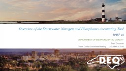 Overview of the Stormwater Nitrogen and Phosphorus Accounting Tool