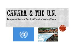 Canada & the  U.n. League of Nations Part 2: A Plan for Lasting Peace