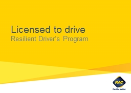 Licensed to drive Resilient Driver's Program This workshop is designed to be teacher-led.