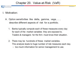 © Paul Koch 1- 1 Chapter 20.  Value-at-Risk  ( VaR ) I.  Motivation: