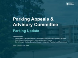 Parking Appeals & Advisory Committee Parking Update Presentation By: