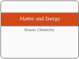 Honors Chemistry Matter and Energy MATTER is anything that has mass and volume.