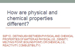 S8P1d. Distinguish between physical and chemical properties of matter as physical (i.e., density, melting point, boiling point) or chemical (i.e., reactivity, combustibility)