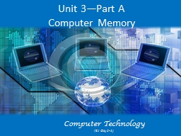 Unit 3—Part A Computer Memory Computer Technology (S1  Obj