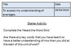 Title Date To assess my understanding of averages. 14/05/2016