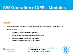 CW Operation  of  XFEL Modules Outline Limitations of the XFEL cryo module for high duty PowerPoint PPT Presentation