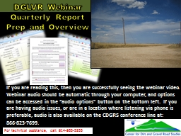 DGLVR Webinar Quarterly Report Prep and Overview For technical assistance