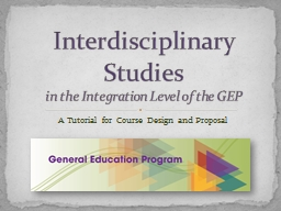 A Tutorial for Course Design and Proposal Interdisciplinary Studies