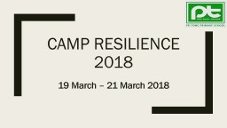 Camp resilience 2018 19 March – 21 March 2018 Objectives Demonstrate the school value of PowerPoint PPT Presentation