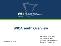 WIOA Youth Overview Kay Tracy & John Olson Youth Services Team