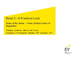 Basel 3 – A Practical Look Rules of the  Game – Three Distinct Areas of Regulation