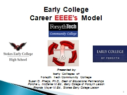 1 Early College  Career  EEEE's  Model  Presented by Early Colleges of