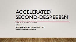 Accelerated Second-Degree BSN Notre Dame of Maryland University