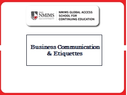 Business Communication & Etiquettes Chapter 1 Communication in Workplace