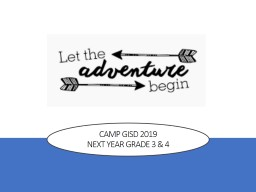 Camp GISD 2019  Next Year Grade 3 & 4 CAMP INVENT DESIGN
