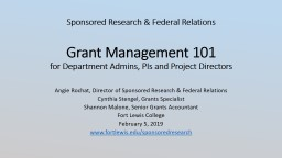 Sponsored Research & Federal Relations Grant Management 101