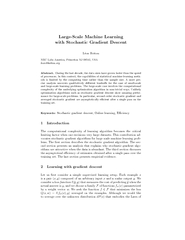 LargeScale Machine Learning with Stochastic Gradient D