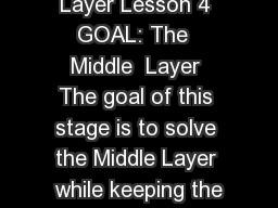 The MIDDLE Layer Lesson 4 GOAL: The  Middle  Layer The goal of this stage is to solve the Middle Layer while keeping the