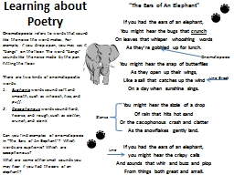 """Learning about Poetry """"The Ears of An Elephant"""" If you had the ears of an elephant,"""