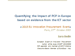 Quantifying the Impact of PCP in Europe  based on evidence from the ICT sector