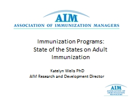 Immunization  Programs:  State  of the  States on  Adult Immunization