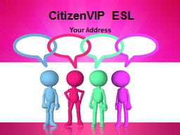 CitizenVIP  ESL Your Address Your Address What is your home address?
