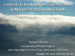 Control of Cloud Droplet Concentration in Marine Stratocumulus Clouds