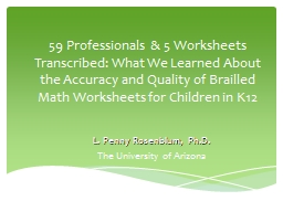 59 Professionals & 5 Worksheets Transcribed: What We Learned About the Accuracy and Quality of Brailled Math Worksheets for Children in K12