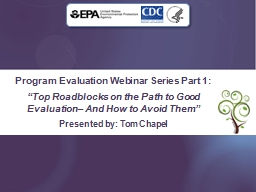 """Program Evaluation Webinar Series Part 1: """"Top Roadblocks on the Path to Good Evaluation– And How to Avoid Them"""" PowerPoint PPT Presentation"""