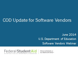 June 2014 U.S. Department of Education Software Vendors Webinar