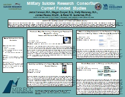 Military Suicide Research Consortium:   Current Funded Studies