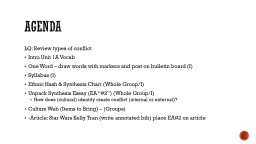 Agenda LQ: Review types of conflict Intro Unit 1A Vocab One Word – draw words with markers and post on bulletin board (I)
