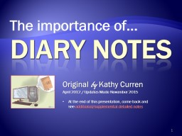 DIARY NOTES The importance of... Original  by  Kathy Curren PowerPoint PPT Presentation