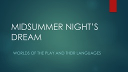 MIDSUMMER NIGHT'S DREAM Worlds of the play and their languages