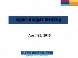 Open Budget Meeting April 21, 2016                   2 Budget