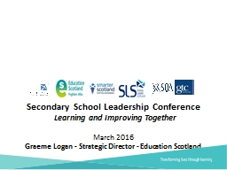 Secondary  School Leadership Conference     Learning