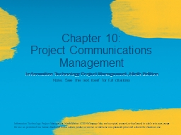 Chapter 10: Project Communications Management PowerPoint PPT Presentation