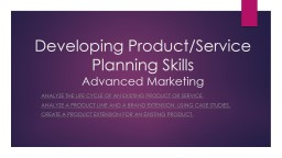 Developing Product/Service Planning Skills