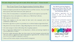 No Cost/Low Cost Appreciation Activity Ideas PowerPoint PPT Presentation
