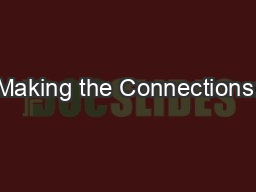 Making the Connections: