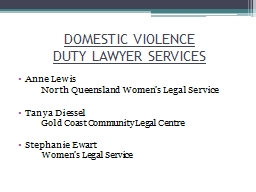 DOMESTIC VIOLENCE  DUTY LAWYER SERVICES PowerPoint PPT Presentation