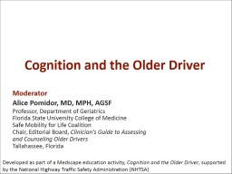 Cognition and the Older Driver PowerPoint PPT Presentation