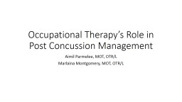 Occupational Therapy's Role in Post Concussion Management