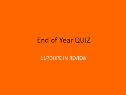 End of Year QUIZ 11PDHPE IN REVIEW