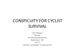 CONSPICUITY FOR CYCLIST SURVIVAL