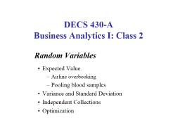 Random Variables Expected Value